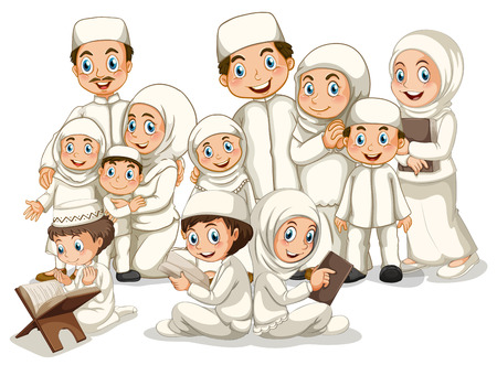 costumes: Large muslim family in white costume