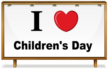childrens day: I love childrens day in wooden frame
