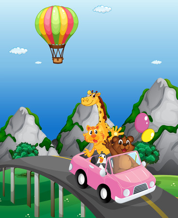 convertible car: Animals riding in convertible to the countryside Illustration