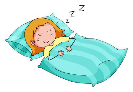 Close up fille dormir dans le lit Vecteurs