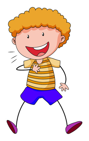 curly hair child: Close up happy boy smiling alone Illustration