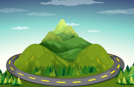 Road to the top of the green mountain Vector