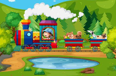 animals in the wild: Train ride in the national park Illustration