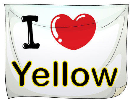 posted: I love yellow posted on the wall Illustration