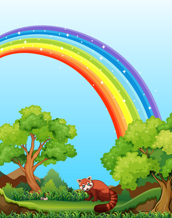 Red panda in the field with rainbow over it Vector