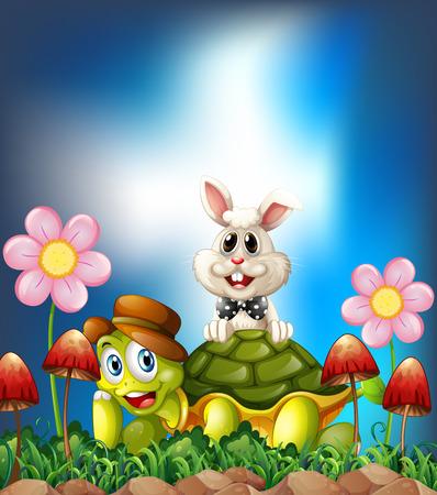 Schildkröte und Hasen lächelnd in der Blumenwiese