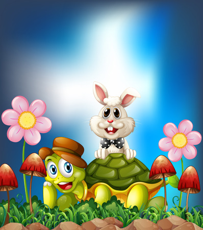 cartoon hare: Tortoise and hare smiling in the flower field