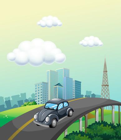 carro caricatura: Paseo en coche clásico en la carretera a la ciudad