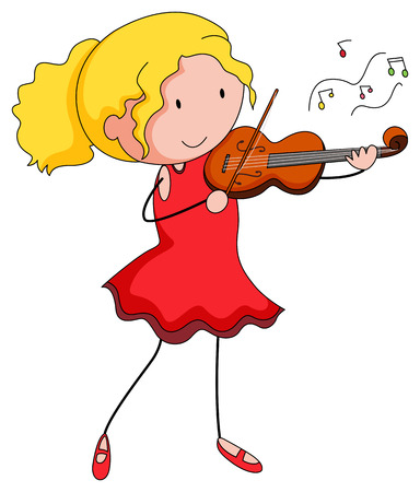instrument practice: Close up girl playing violin alone Illustration