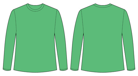 sleeves: Front and back view of long sleeves shirt