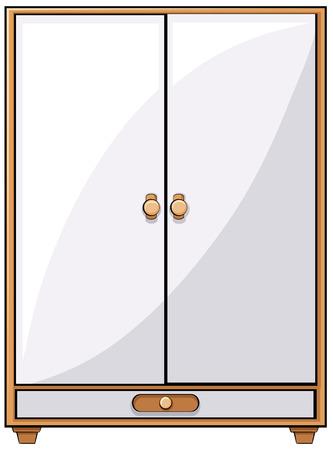 Single classic design of wooden closet Vector