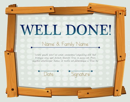 recognition: Certificate with wooden frame design Illustration