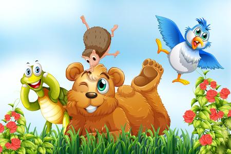 Zwierzęta żyjące razem w parku Ilustracje wektorowe