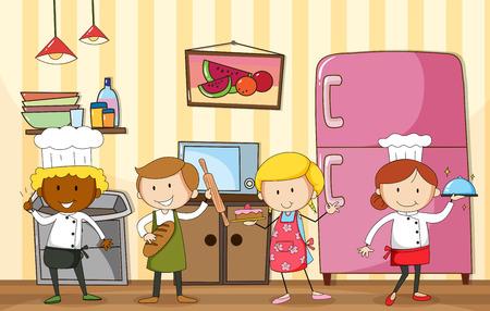 Veel bakkers en chef-kok in de keuken
