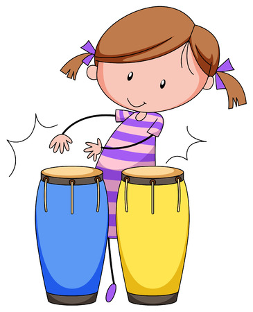 close up: Close up girl playing drums Illustration
