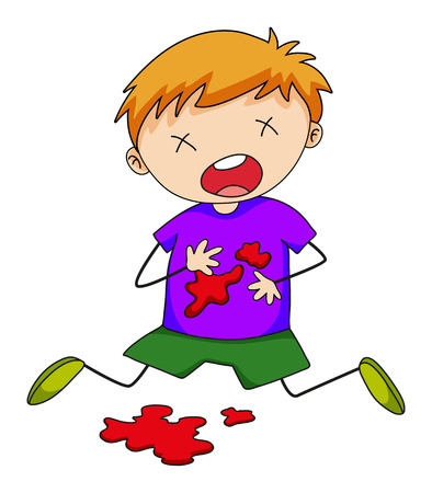 Close up boy being injured with blood splash Illustration