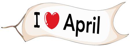 4월: I love April banner flying