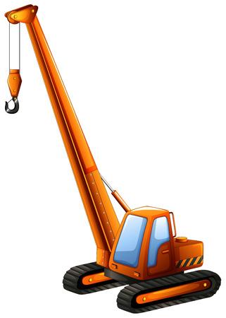 construction equipment: Close up orange crane truck Illustration