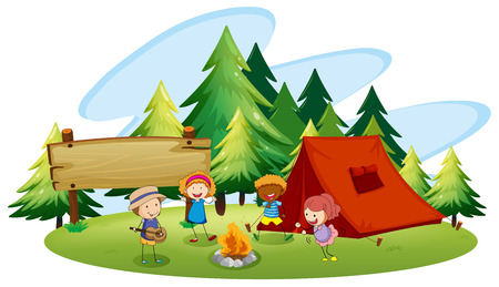 Children camping out in the park Stock Illustratie