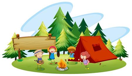 campamento: Ni�os acampar en el parque Vectores