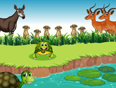 Many animals living on the river bank Vector