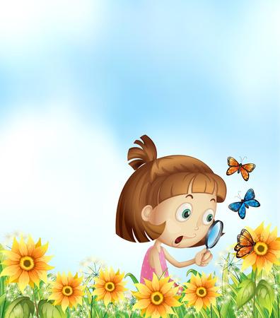mariposas volando: Muchacha que mira mariposas volando sobre las flores Vectores