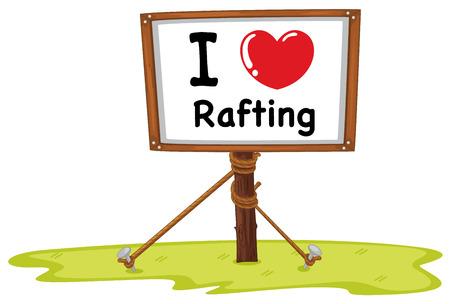 heart clipart: I love rafting on wooden frame