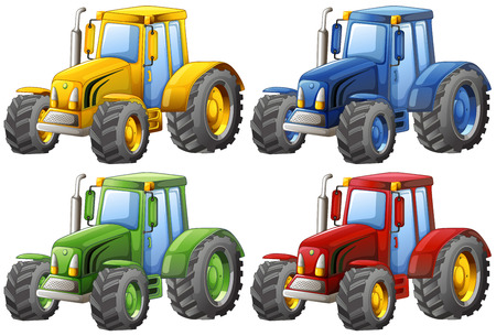 Four different color of tractors