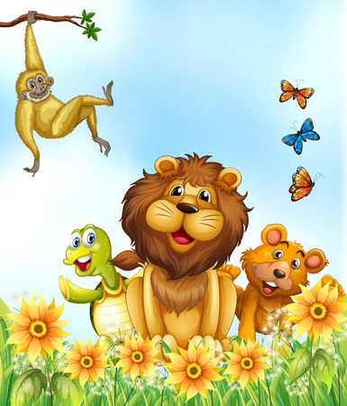 Happy animals relaxing in the flower field Illustration