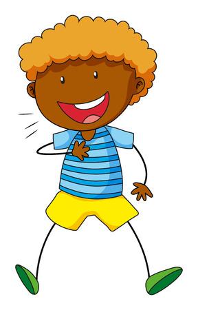 curly hair child: Close up black boy smiling alone Illustration