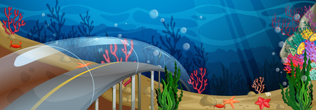 road tunnel: Road in glass tunnel underwater Illustration
