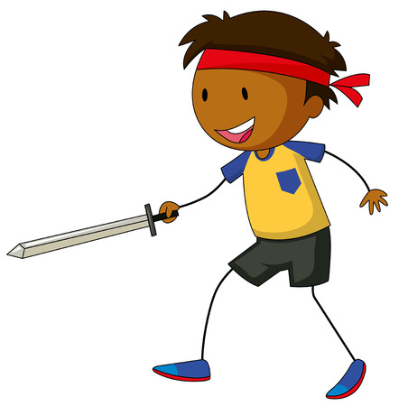 sword fighting: Close up boy holding a sword fighting