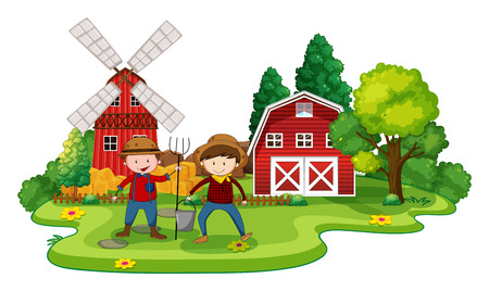 cartoon land: Farmers working in a farm at day time