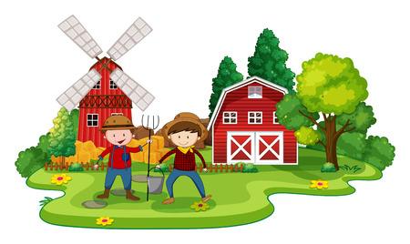cartoon farmer: Farmers working in a farm at day time