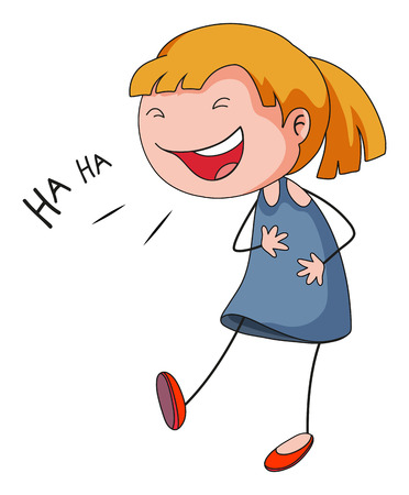 up skirt: Little girl with happy face laughing Illustration