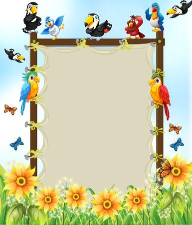 marco madera: Marco de madera con muchos p�jaros y flores de fondo