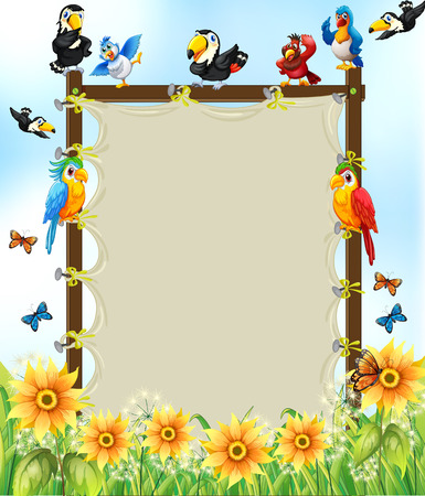 cartoon landscape: Wooden frame with many birds and flowers background