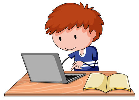 computer clipart: Close up boy working on his computer