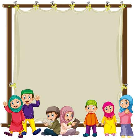 Signe en bois avec les musulmans fond