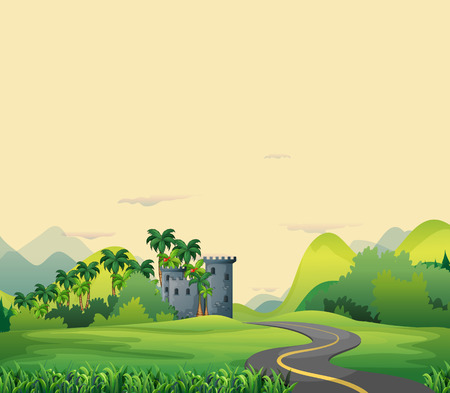brick road: Road to castle in the open field Illustration
