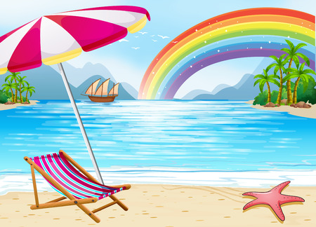 Beach view with rainbow background Vector