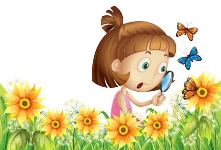 observe: Girl looking at flower and butterfly