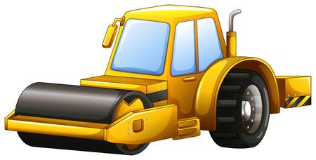 steam roller: Close up yellow steam roller