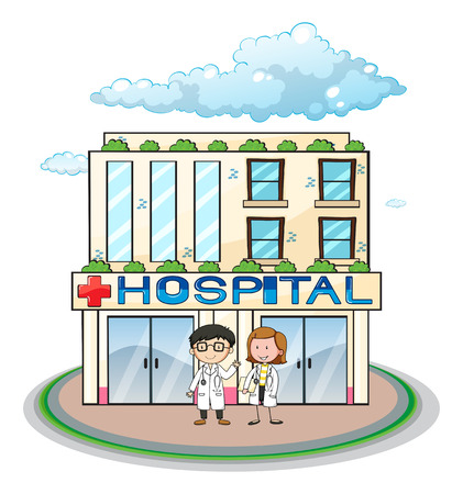 Doctors standing in front of a hospital Illustration