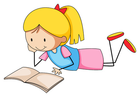 cartoon reading: Close up girl reading a book alone