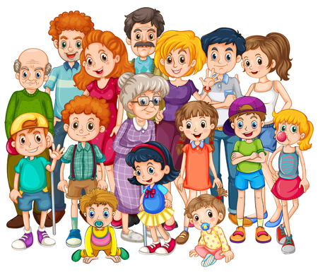 Familieleden gelukkig samen in een schot Stock Illustratie