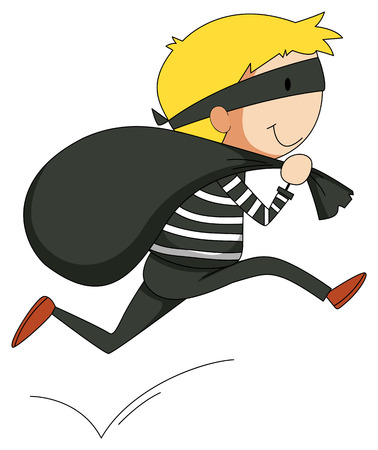 run away: Close up robber getting away with a bag Illustration