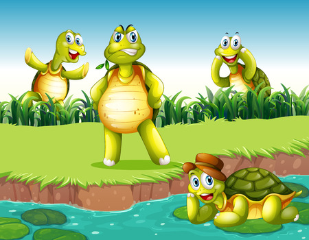 Four turtles relaxing by the pond Vector