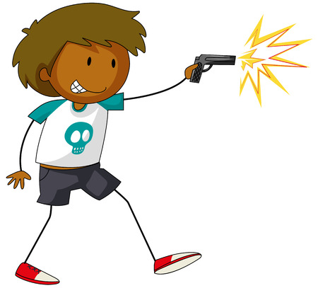 gun shot: Close up boy with a fire gun in his hand Illustration
