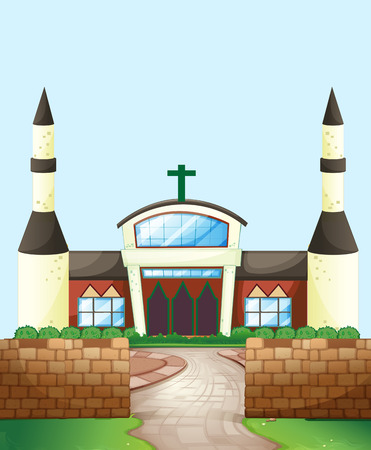 believes: Single church with brick wall Illustration